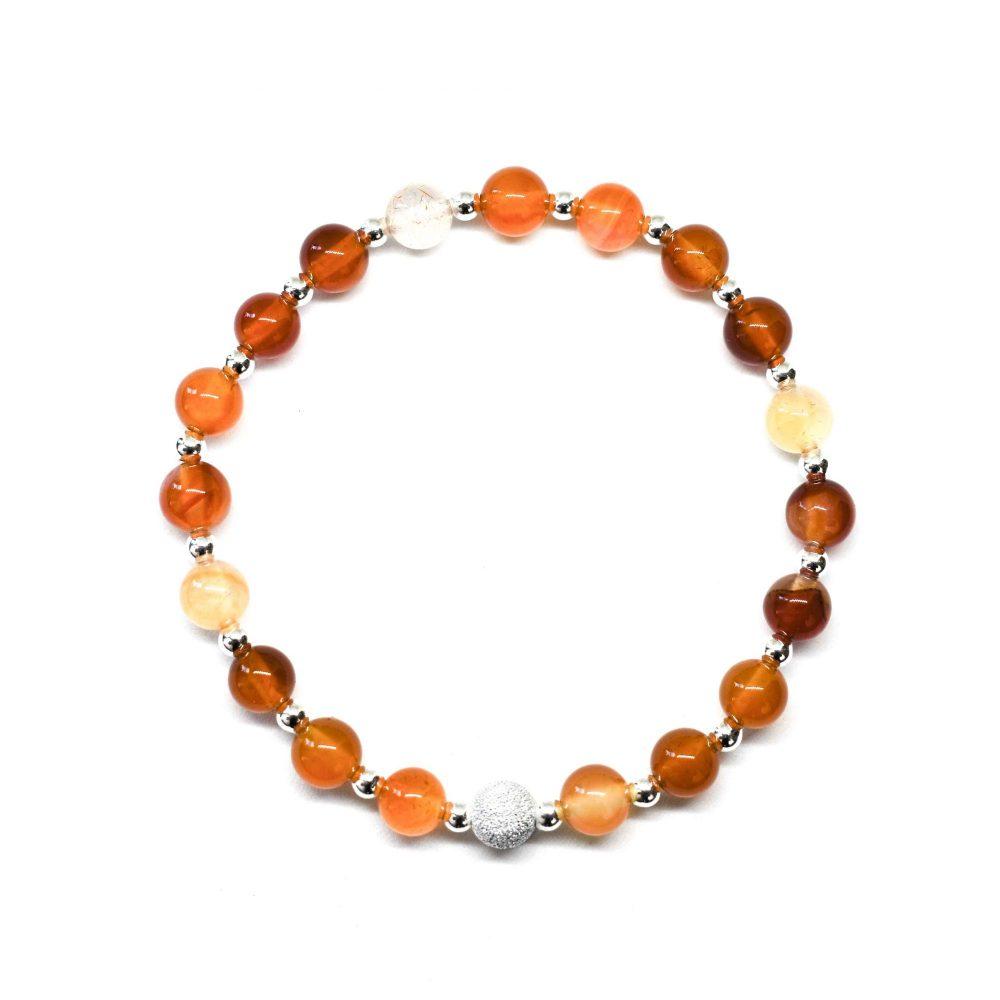 OMMO London bracelet, womens bracelets, bohemian bracelet, stretch bracelet, spiritual bracelet, chakra bracelet, Carnelian Agate stone bracelet - 925 Sterling Silver - Tokyo Collection