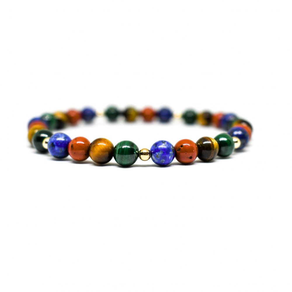 Tiger's eye bracelet, lapis lazuli bracelet, malachite bracelet, Red jasper bracelet, 9ct gold bracelet, stretch bracelet, OMMO Bracelet