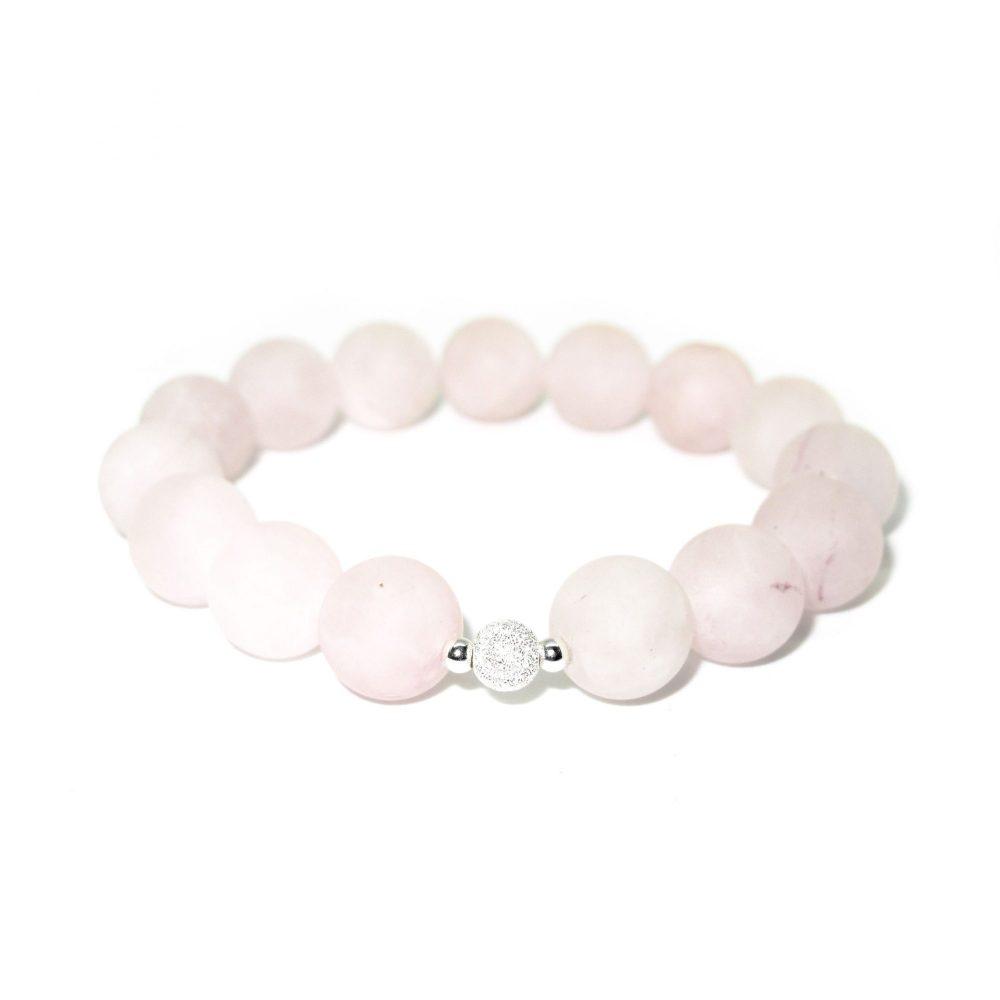 Beaded bracelet for women, rose quartz bracelet, pink bracelet, frosted silver bracelet, unique bracelet, spiritual bracelet, Rose Quartz stone bracelet - 925 Sterling Silver - Tokyo Collection