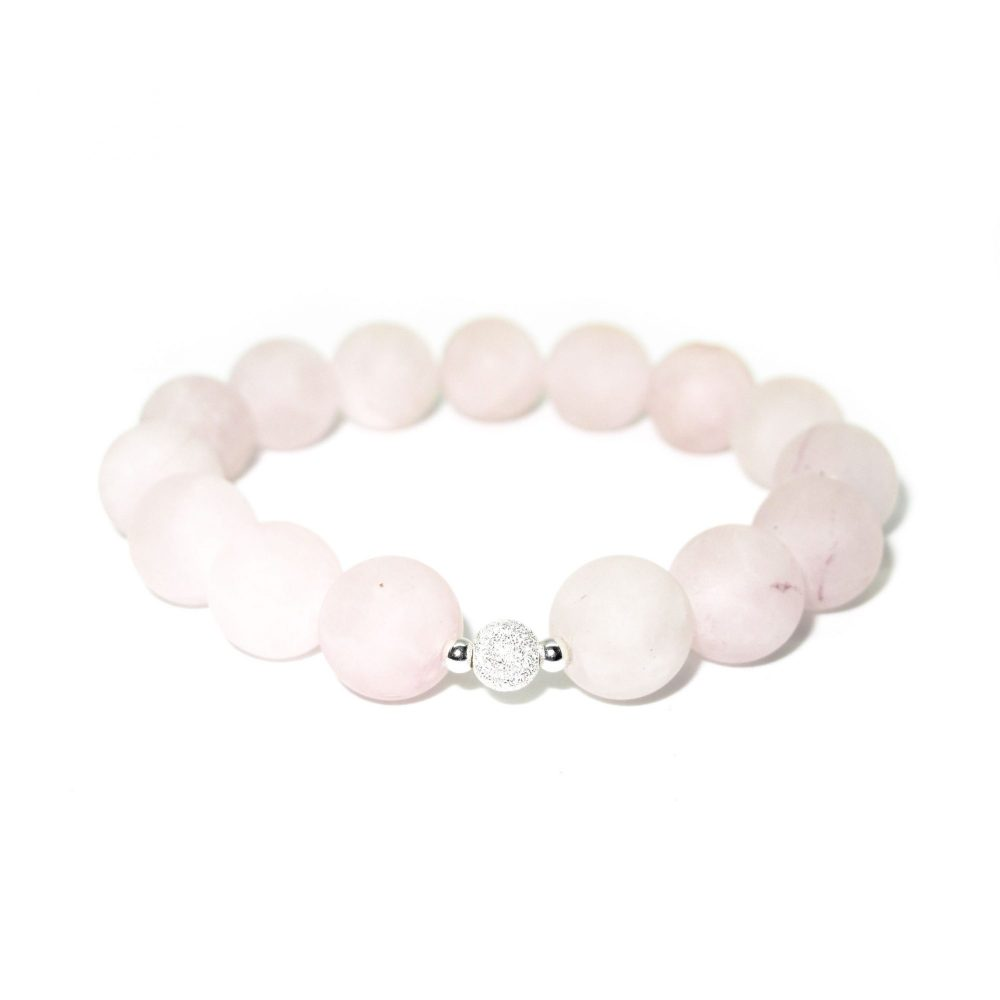 Beaded bracelet for women, rose quartz bracelet, pink bracelet, frosted silver bracelet, unique bracelet, spiritual bracelet, Rose Quartz stone bracelet - 925 Sterling Silver - Tokyo Collection