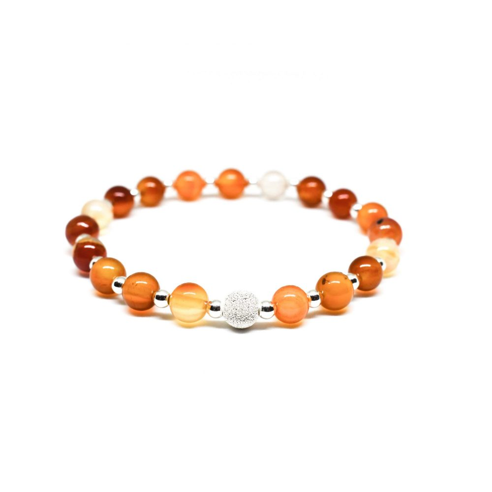 Carnelian bracelet, sterling silver bracelet, stretch bracelet, womens bracelet, uk seller, bangle, womens jewellery, Carnelian Agate stone bracelet - 925 Sterling Silver - Tokyo Collection