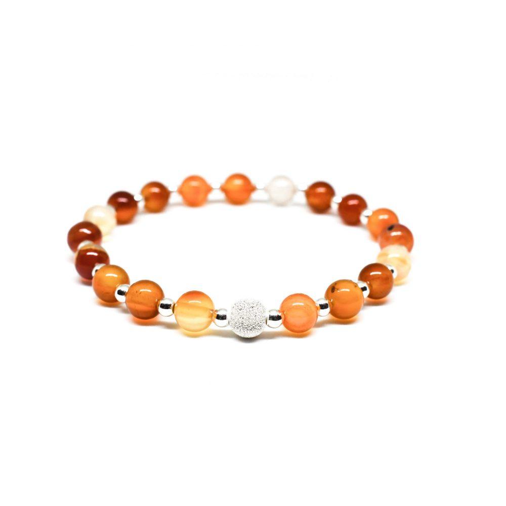 Carnelian bracelet, sterling silver bracelet, stretch bracelet, womens bracelet, uk seller, bangle, womens jewellery, Carnelian Agate stone bracelet - 925 Sterling Silver - Tokyo Collection