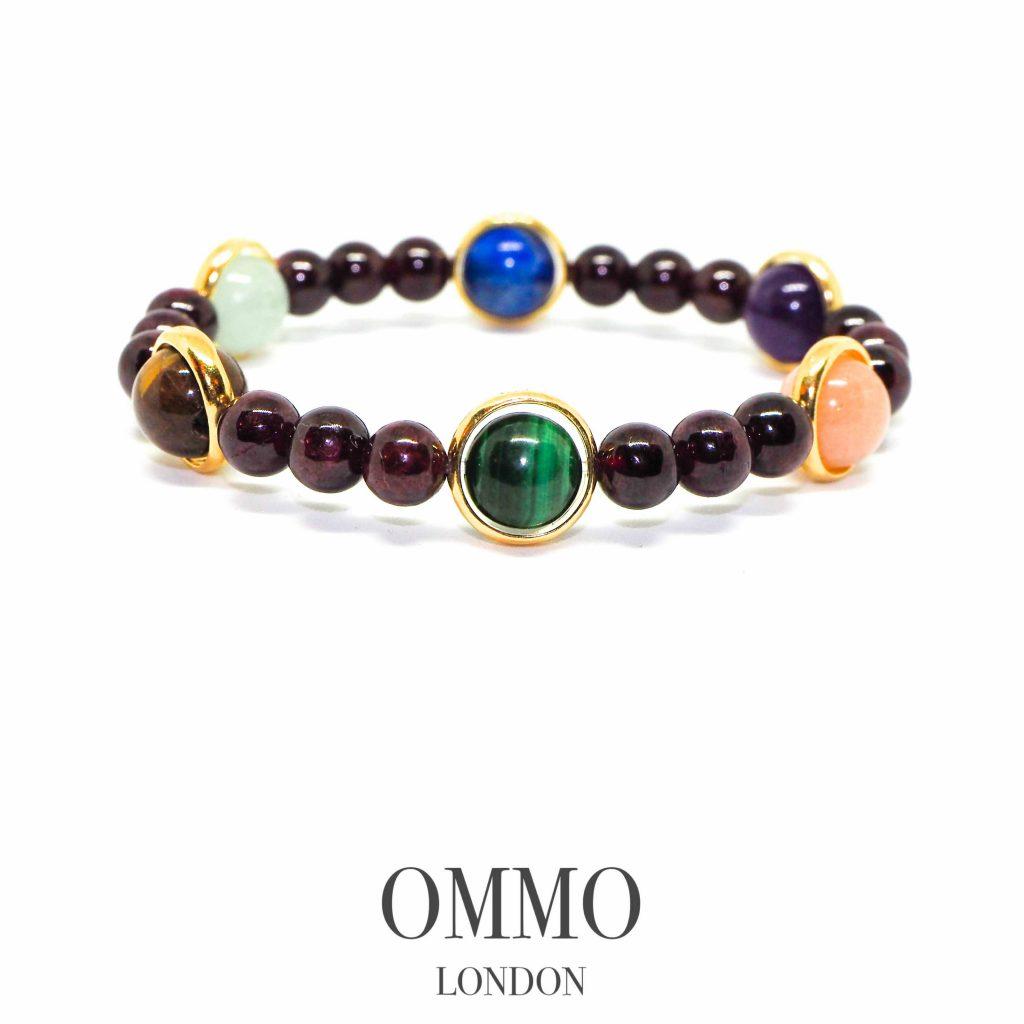 Chakra bracelet, luxury chakra bracelet, garnet with gold, chakra bracelet uk, meditation bracelet, healing bracelet