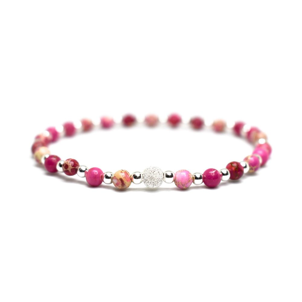 Pink Sediment Jasper stone bracelet - 925 Sterling Silver - Tokyo Collection