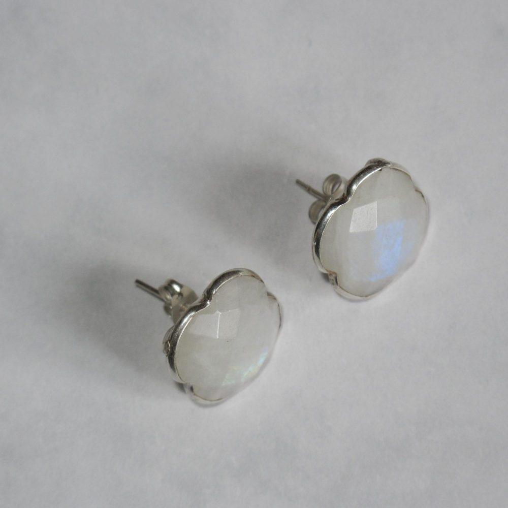 Moonstone stud Earrings, June Birthstone stud, Triangle stud earrings, moonstone earrings, bezel set studs, white earrings, MOONSTONE AND SILVER EARRINGS