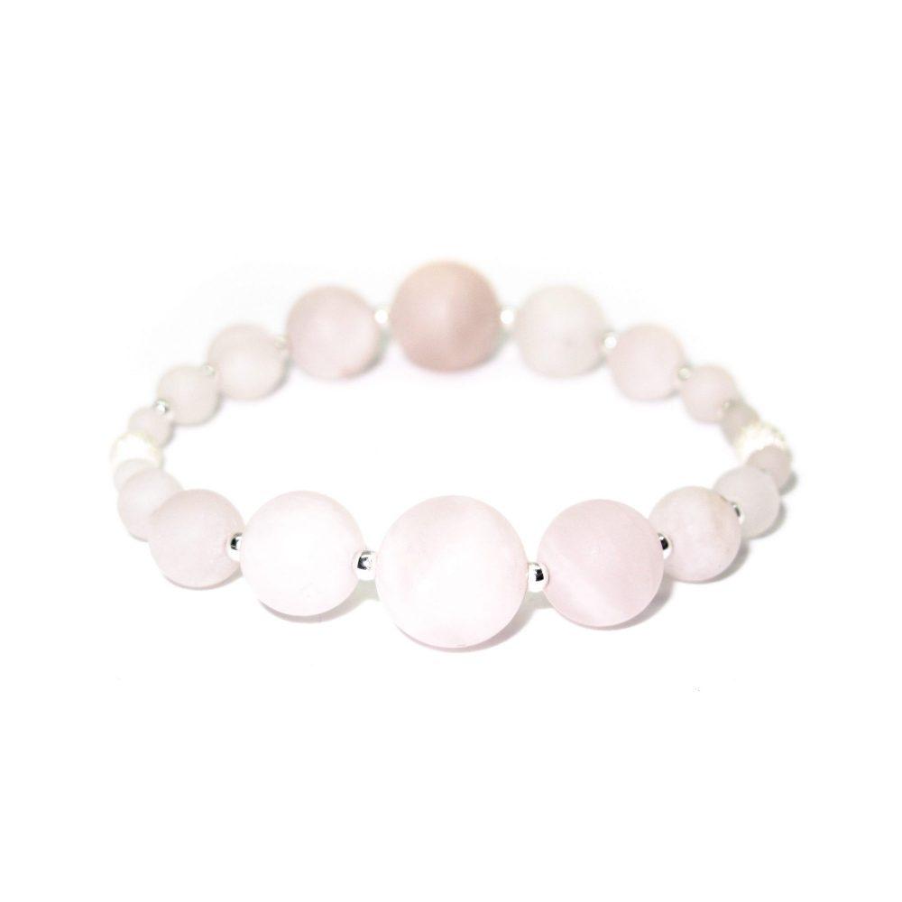 beaded bracelet London stretch semi precious stone jewellery sterling silver 925 Rose Quartz women, OMMO Bracelet - London Collection - Rose Quartz