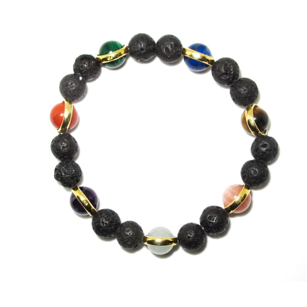 Black Lava bracelet, lapis lazuli bracelet, malachite bracelet, Red jasper bracelet, gift idea, xmas present idea, chakra