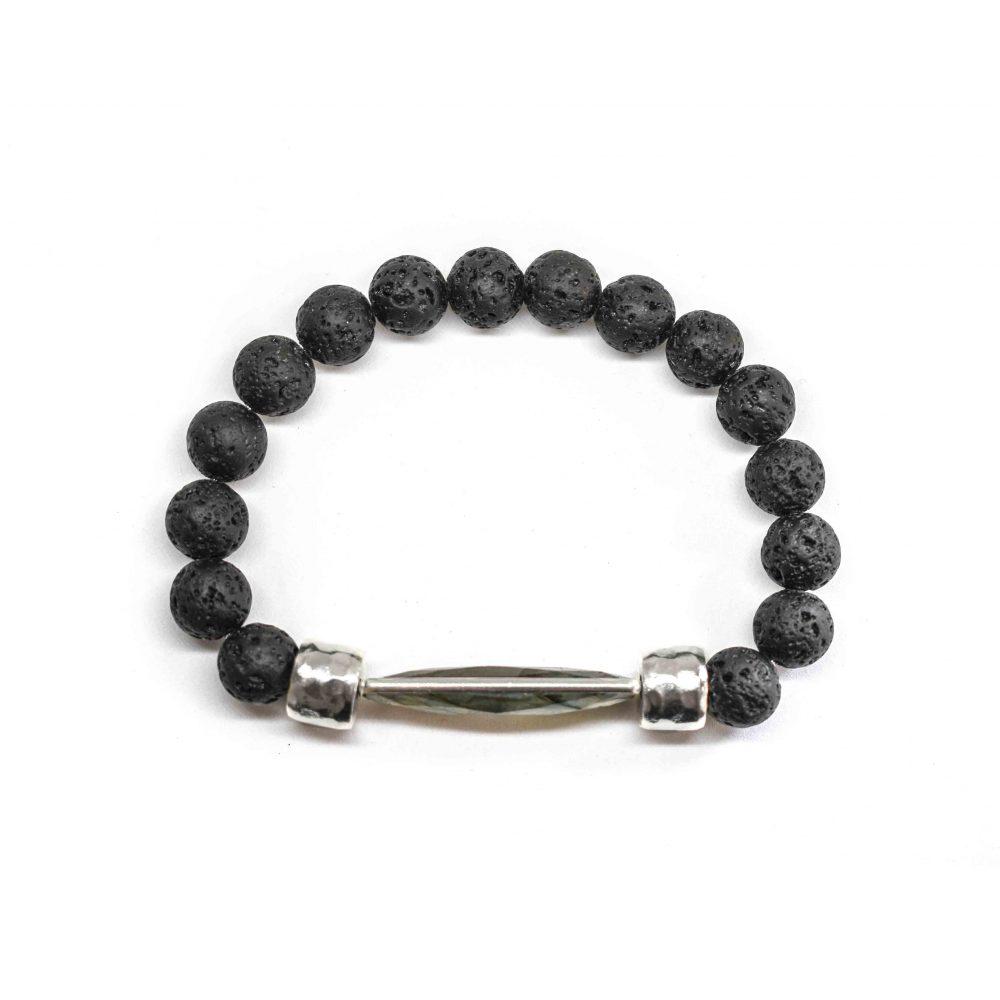 Black lava and Labradorite 925 sterling silver mens beaded bracelet spiritual semi precious OMMO Bracelet