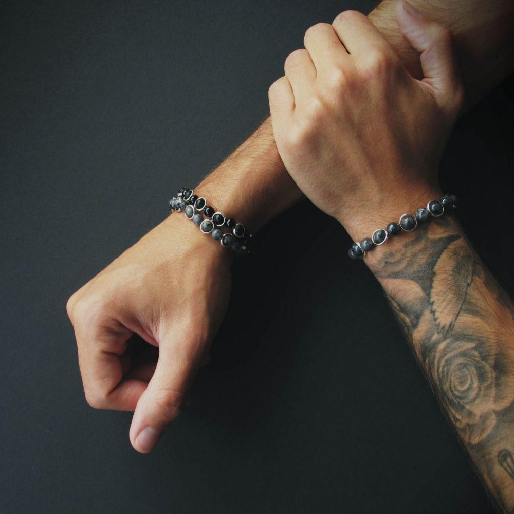 Luxury designer spiritual jewellery, luxury chakra bracelets, high quality chakra bracelets, onyx bracelet, labradorite