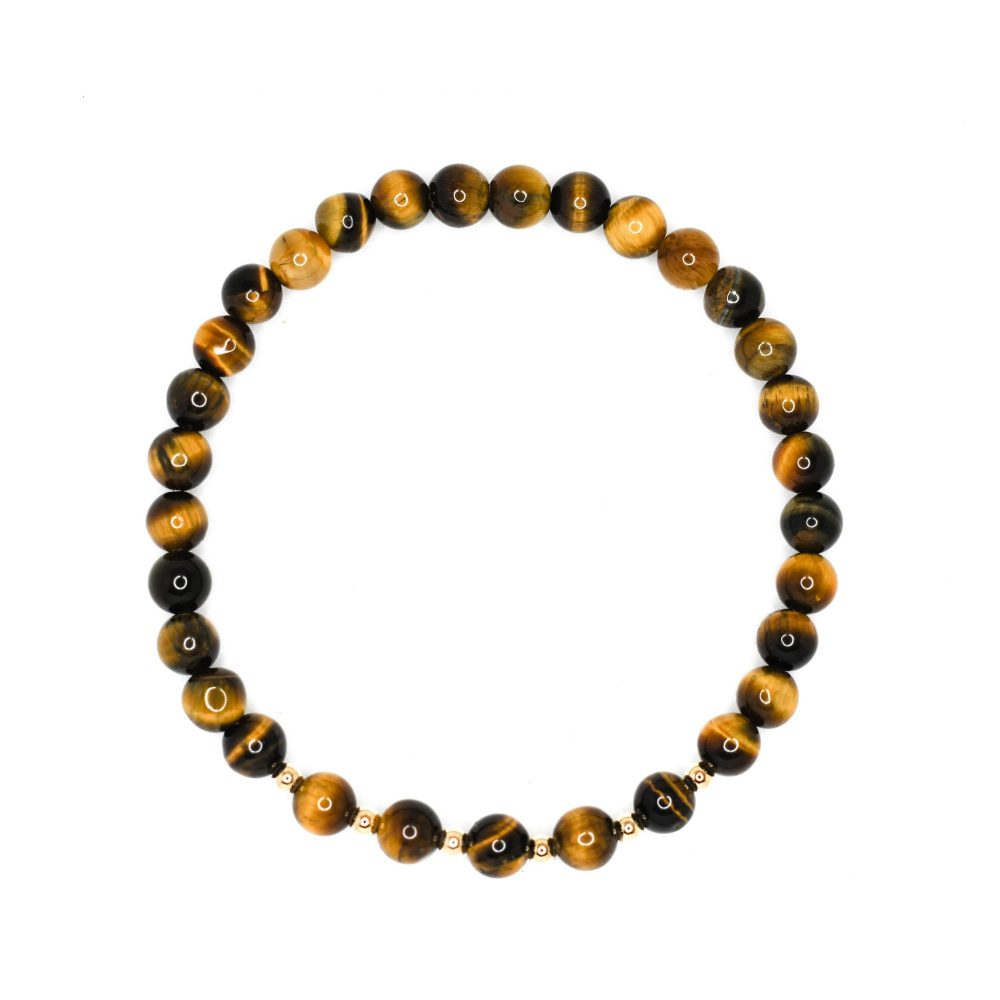 tigers eye bracelet, womens tigers eye bracelet, mens tigers eye bracelet, tigers eye and solid gold, stretch bracelet, trend, OMMO Bracelet