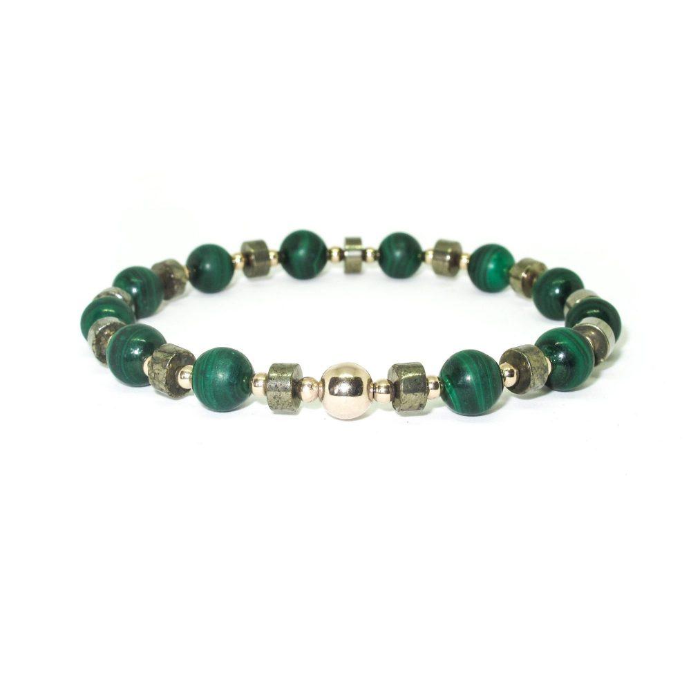 "EMF Radiation Protection Bracelet, EMF protection Bracelet, Malachite bracelet, beaded bracelet, 9ct gold bracelet, stretch bracelet, green bracelet, gemstone bracelet, ommo london, 9ct Gold Malachite and Pyrite - ""Shield Bracelet"""