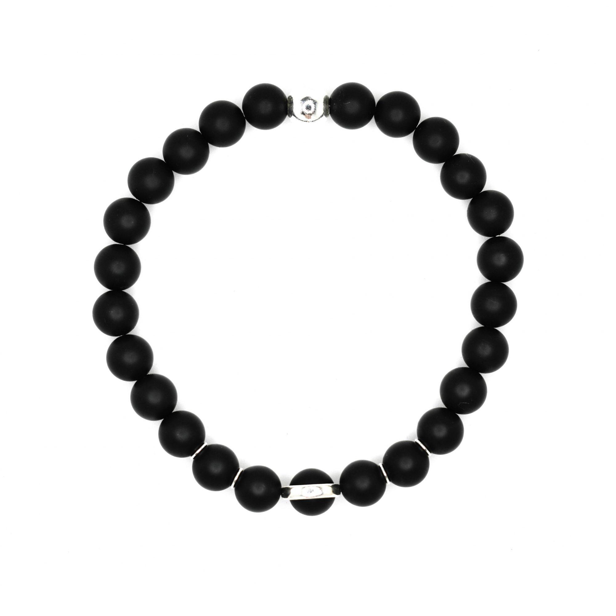 Mens Beaded Bracelet Black Onyx Bracelet Ommo London
