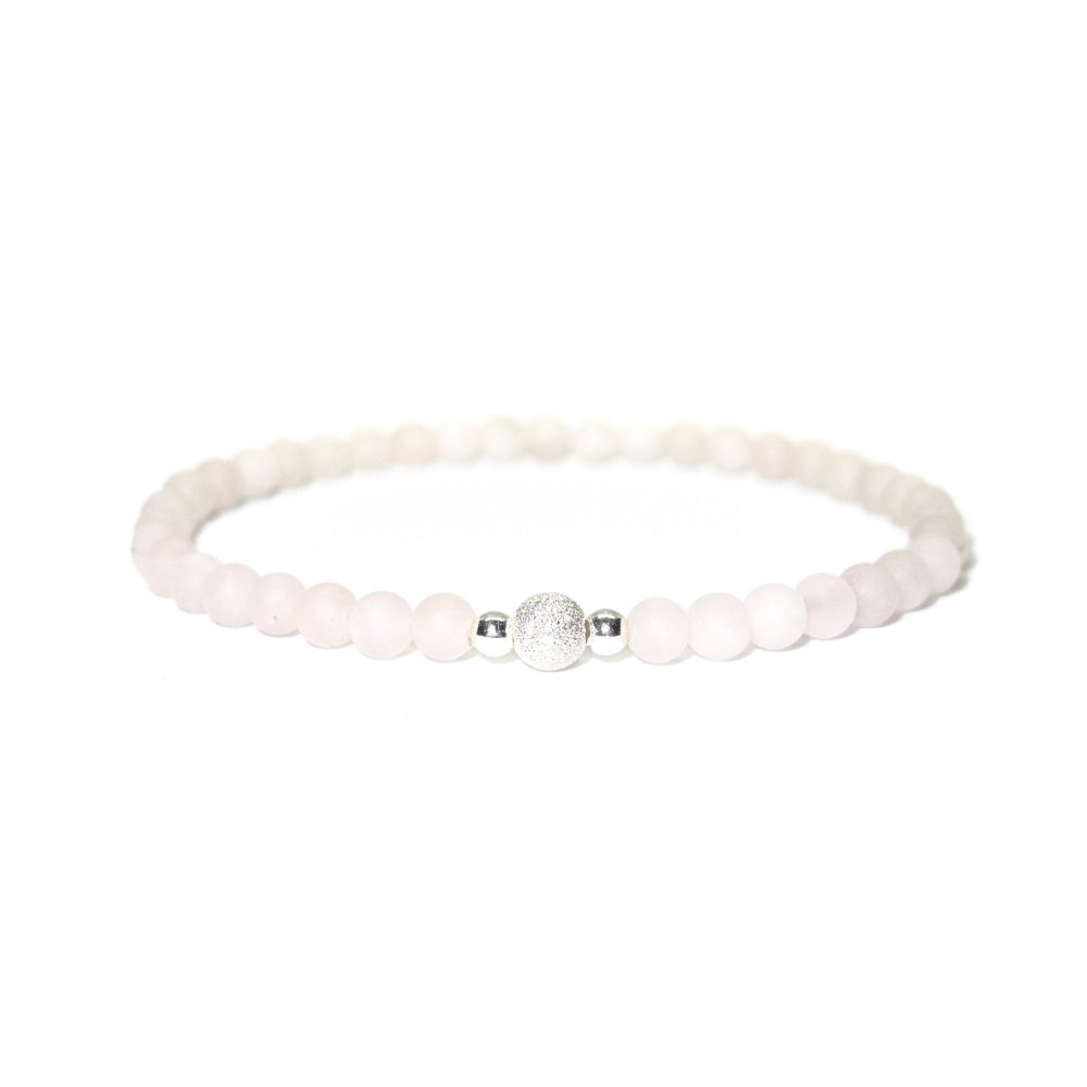 Rose Quartz stone bracelet - 925 Sterling Silver - Tokyo Collection
