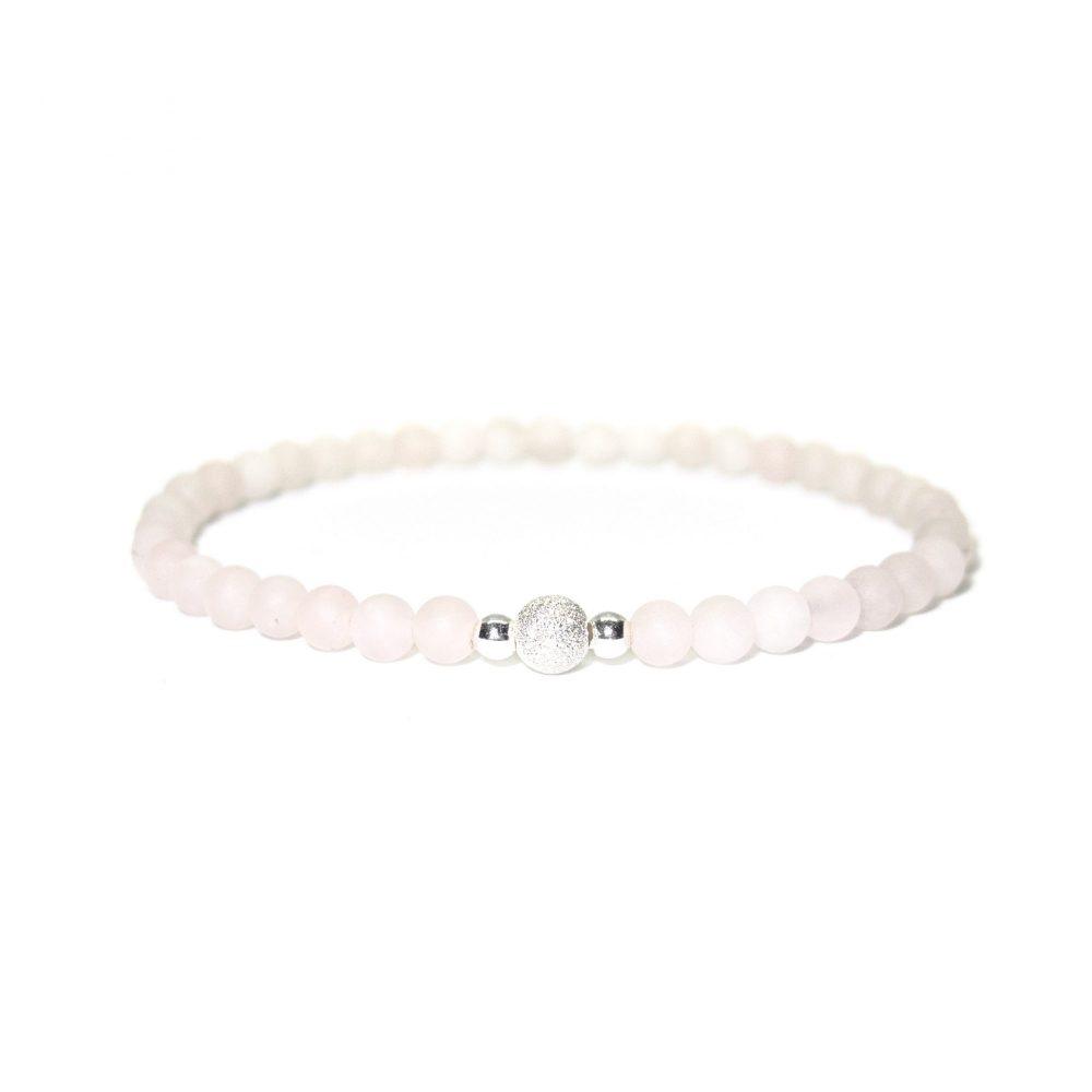 Rose Quartz stone bracelet - 925 Sterling Silver - Tokyo Collection