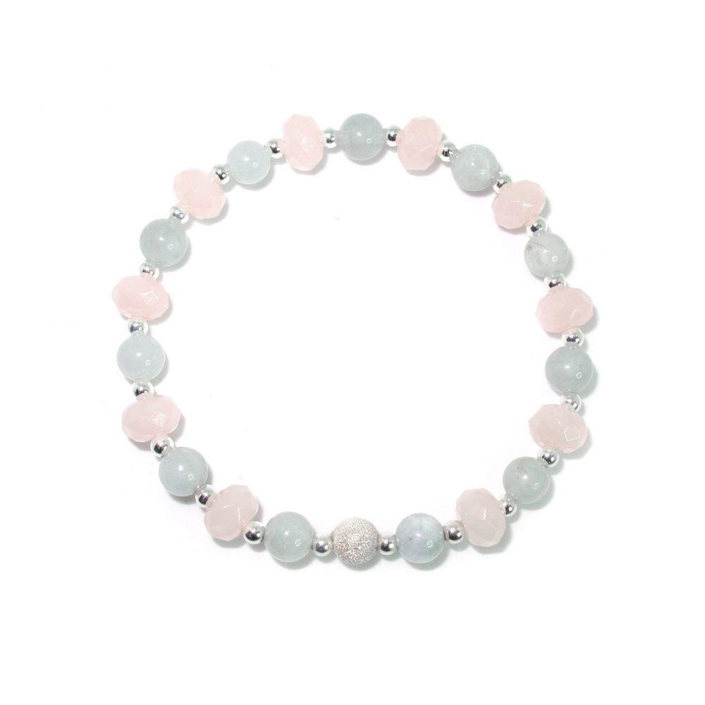 Pink bracelet, pastel bracelet, statement bracelet, friendship bracelet, quartz, aquamarine, uk, healing bracelet