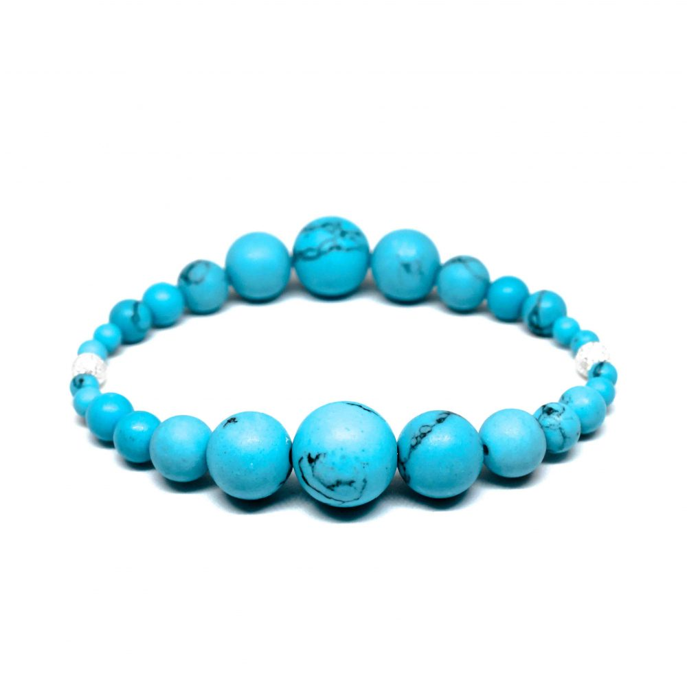 OMMO London beaded bracelet semi precious stone jewellery sterling silver 925 Blue Turquoise women gemstones, OMMO Bracelet - London Collection - Blue Turquoise