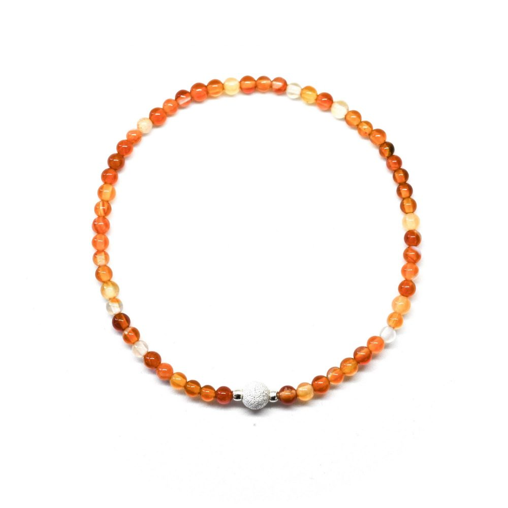 Beaded bracelet, carnelian bracelet, orange bracelet, womens beaded bracelet, bracelet for women, sterling silver bracelet, Carnelian Agate stone bracelet - 925 Sterling Silver - Tokyo Collection