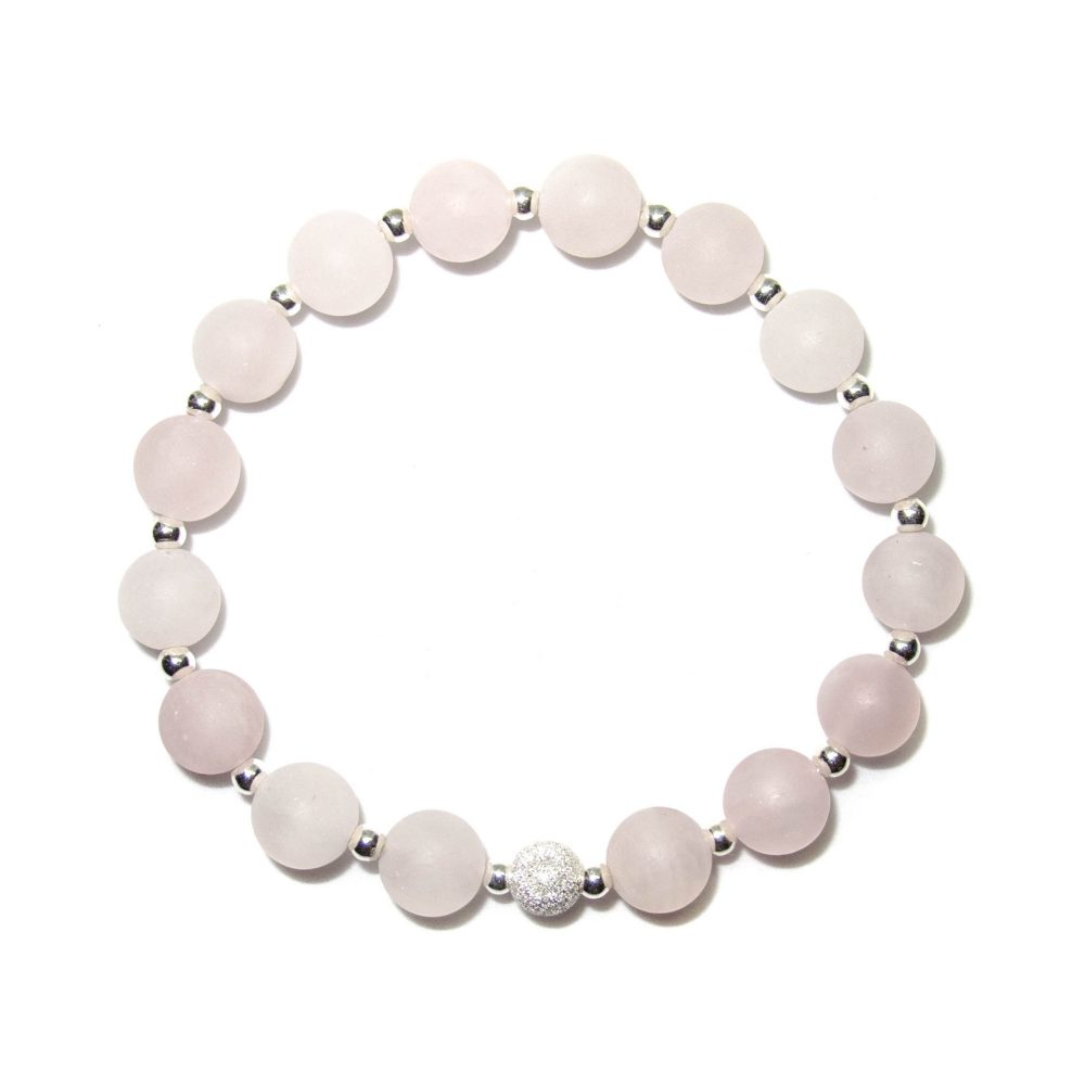 Pink beaded bracelet, bracelet for women, bracelet for mum, gift idea for mum, beaded bracelet, gemstone beaded bracelet, Rose Quartz stone bracelet - 925 Sterling Silver - Tokyo Collection