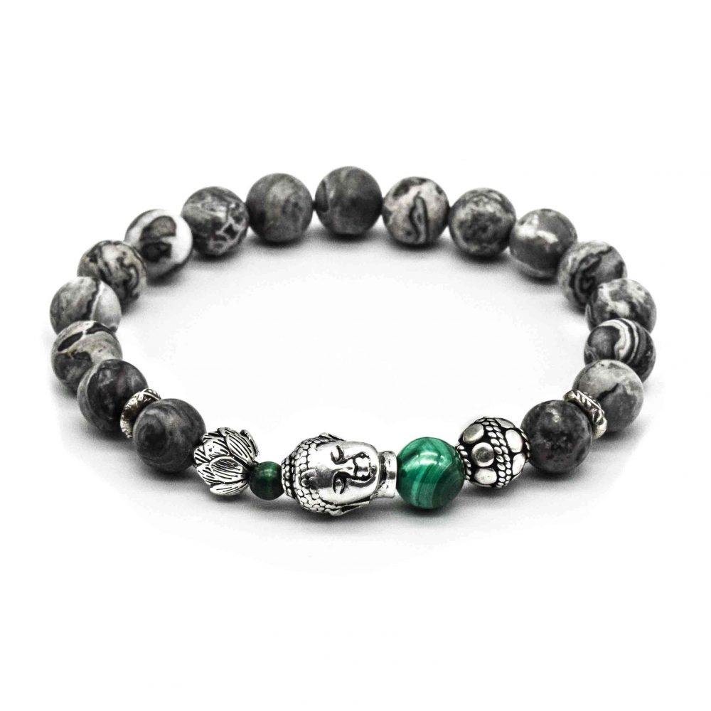 Silver Buddha Bracelet, Men's Silver Buddha Bracelet, jasper buddha bracelet, picasso jasper bracelet, grey buddha jasper, designer bracelet for men, designer bracelet for women, spiritual bracelet, spiritual jewellery uk