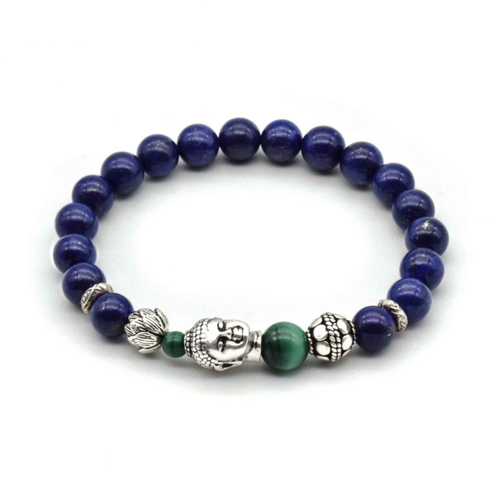 lappis lazuli buddha bracelet, lapis and silver bracelet, buddha jewellery, buddha beaded bracelet, designer bracelet, beaded bracelet uk, lapis beaded bracelet, lapis and malachite bracelet