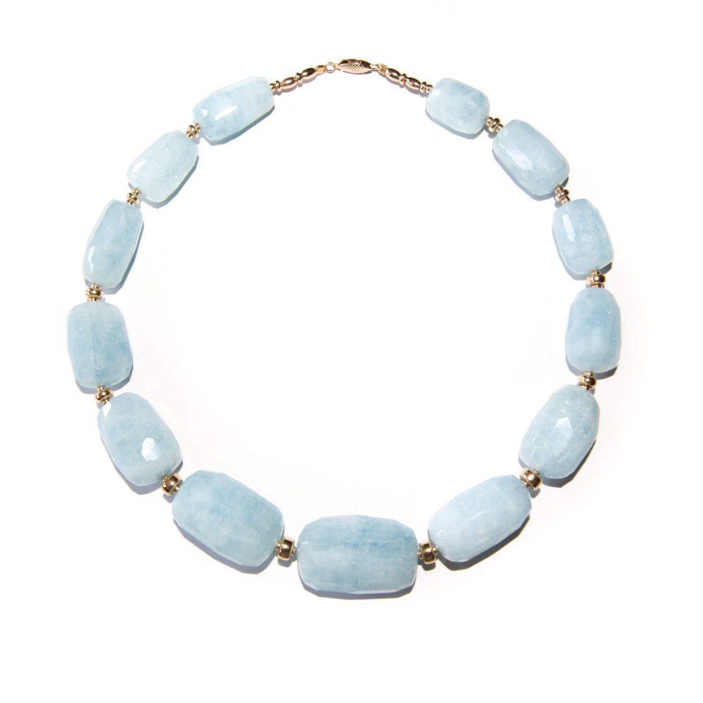 Aquamarine and gold necklace, aquamarine jewellery, aquamarine and gold jewellery, chunky aquamarine necklace, aquamarine beaded necklace, aquamarine set, aquamarine bracelet