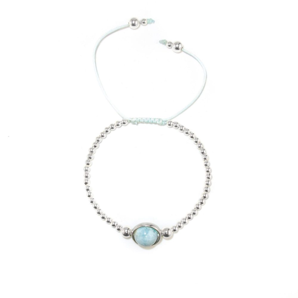 larimar bracelet Larimar and Silver Macrame Bracelet, blue bracelet, larimar jewellery, larimar necklace, larimar earrings, larimar bracelet uk, gemstone jewellery. gemstone bracelet, jewellery for women uk, silver bracelet for women uk,