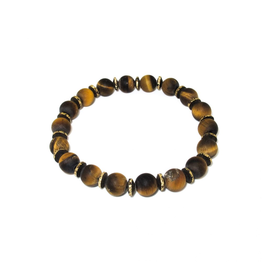 Tiger's Eye Beaded Bracelet, brown bracelet, tigers eye bracelet, designer bracelet, tigers eye bracelet mens, tigers eye jewellery, protection bracelet, Matte tigers eye bracelet