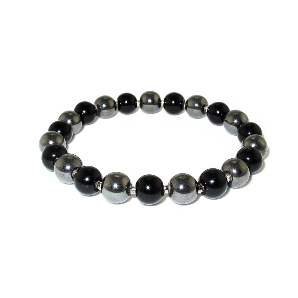 Black Onyx and Hematite bracelet with Silver, onyx bracelet, hematite bracelet, healing bracelet, onyx with silver bracelet, onyx bracelet for men, beaded bracelet for men uk, jewellery for men