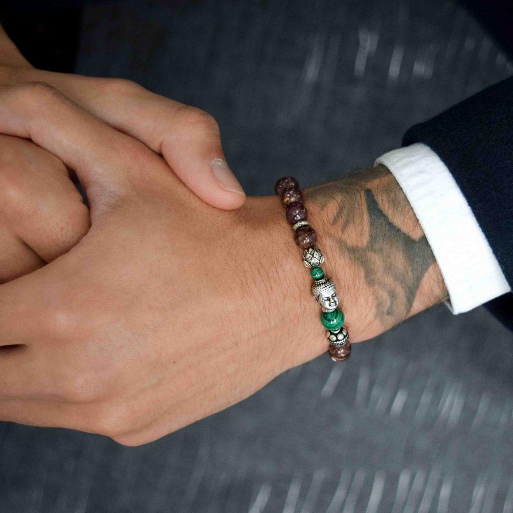 Buddhist Bracelet for men, designer bracelet, buddha bracelet for men, mens buddha bracelet. spiritual bracelet, malachite bracelet, 925 buddha bracelet, designer beaded bracelet, mens luxury bracelet, healing bracelet, healing jewellery
