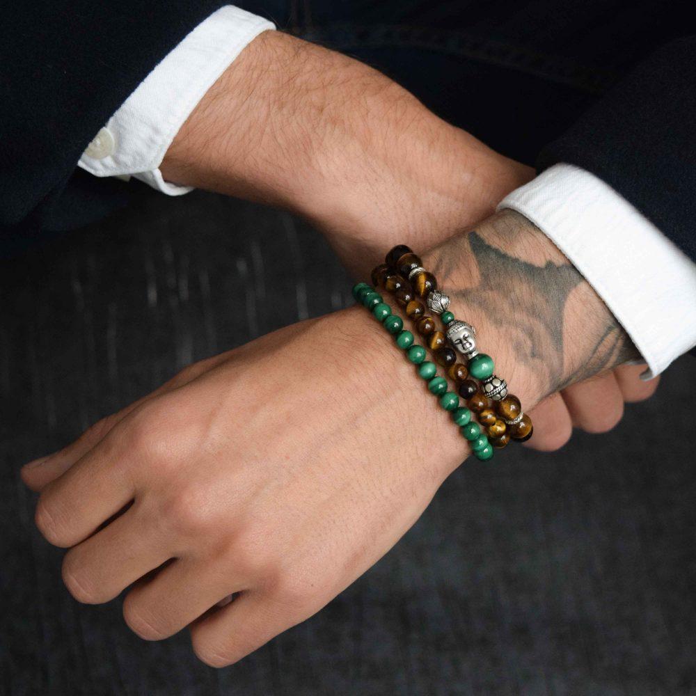 Tiger's eye bracelet, buddha bracelet for men, mens buddha bracelet. spiritual bracelet, malachite bracelet, 925 buddha bracelet, designer beaded bracelet, mens luxury bracelet