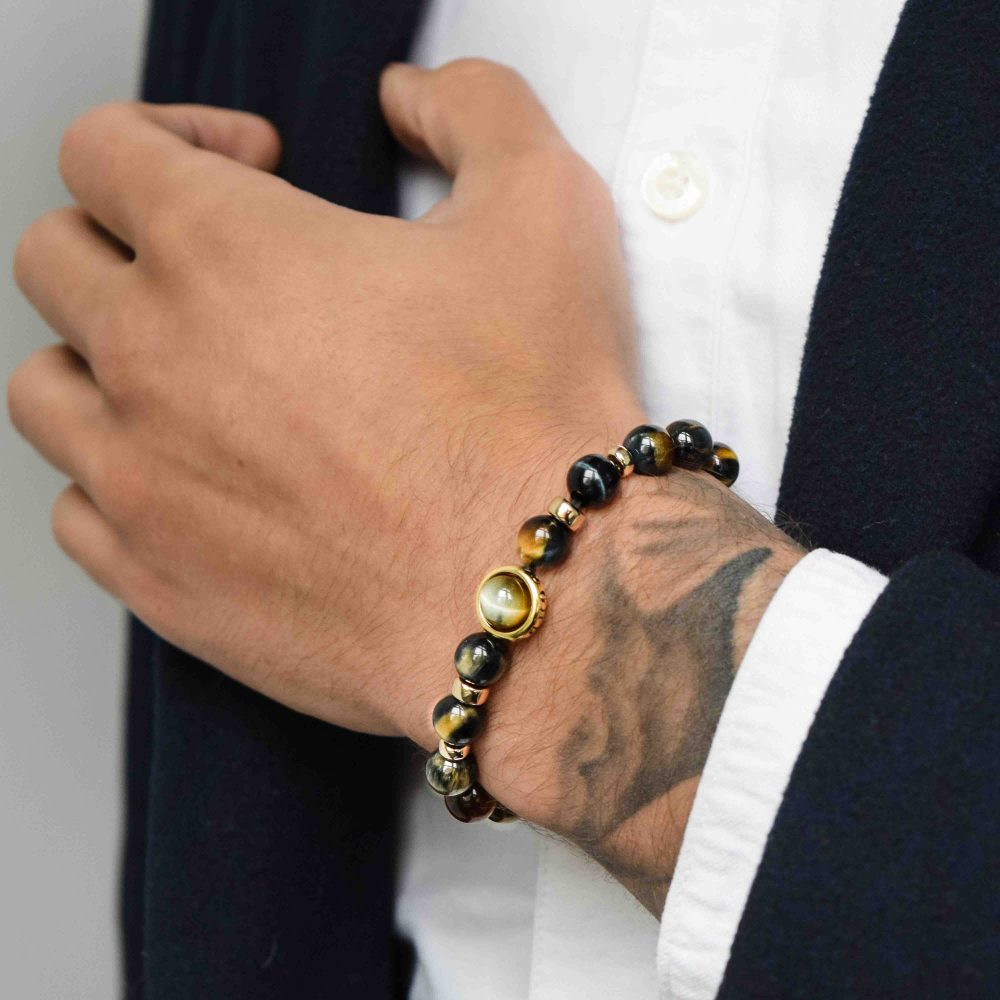 Gold tiger's eye bracelet, golden tigers eye bracelet, tigers eye and gold bracelet, luxury tigers eye bracelet, designer tigers eye bracelet, healing bracelet, gold bracelet for men