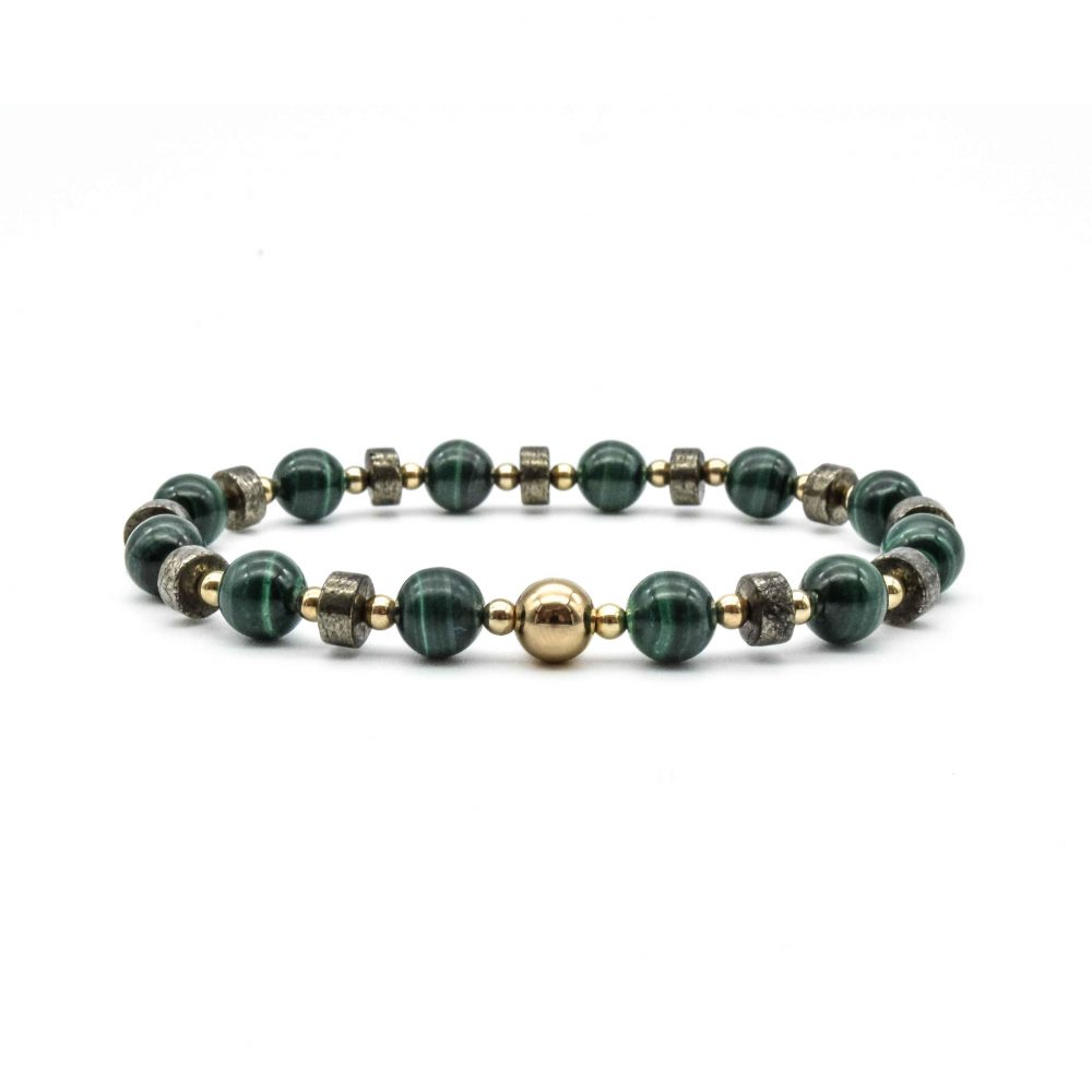 shield bracelet, malachite and gold bracelet, malachite bracelet, malachite beaded bracelet, malachite jewellery, luxury bracelet for men or women, designer bracelet, beaded bracelet uk