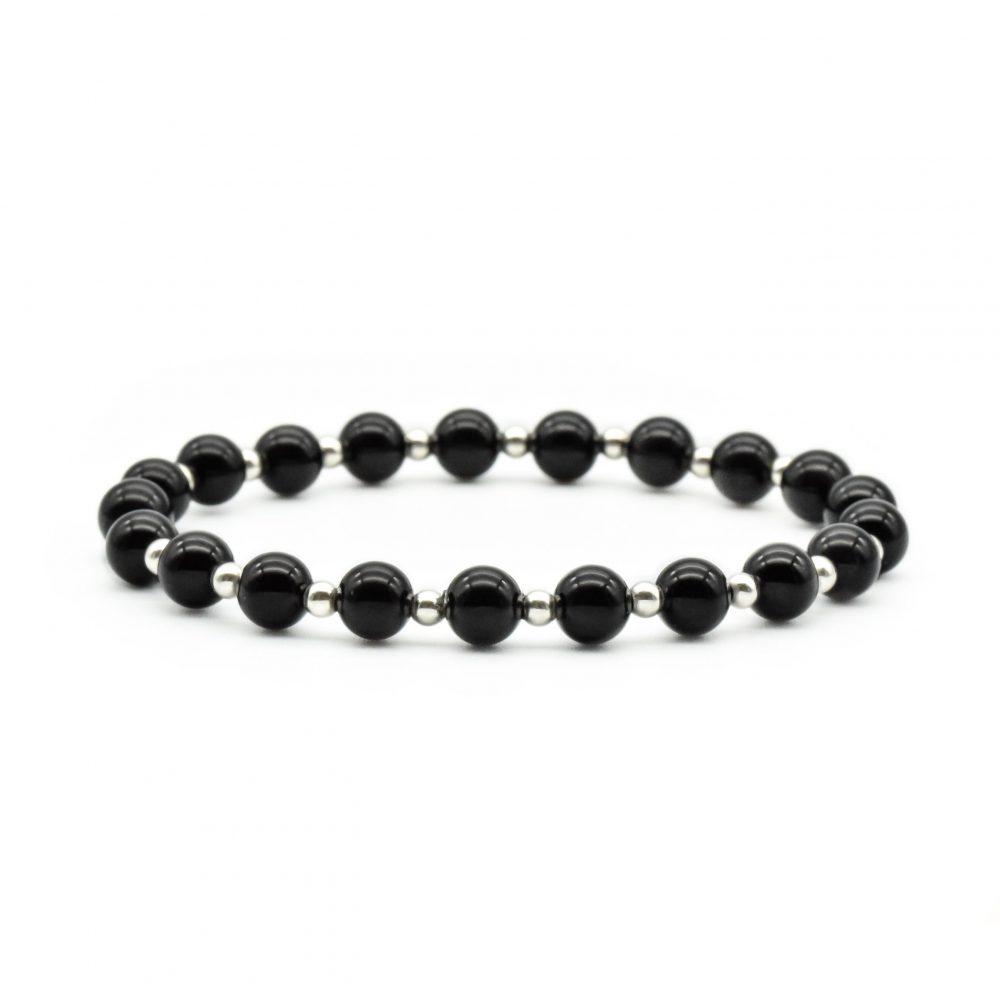 black onyx bracelet, black onyx and silver bracelet, onyx beaded bracelet, designer bracelet, beaded bracelet uk