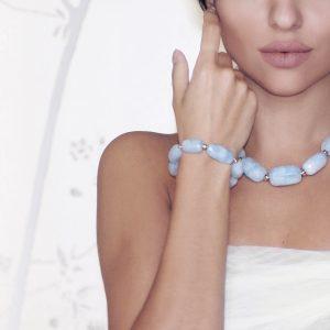 Aquamarine and Gold Necklace and Bracelet , aquamarine jewellery, chunky aquamarine necklace, cloudy aquamarine jewellery, aquamarine beaded bracelet, aquamarine and gold jewellery,