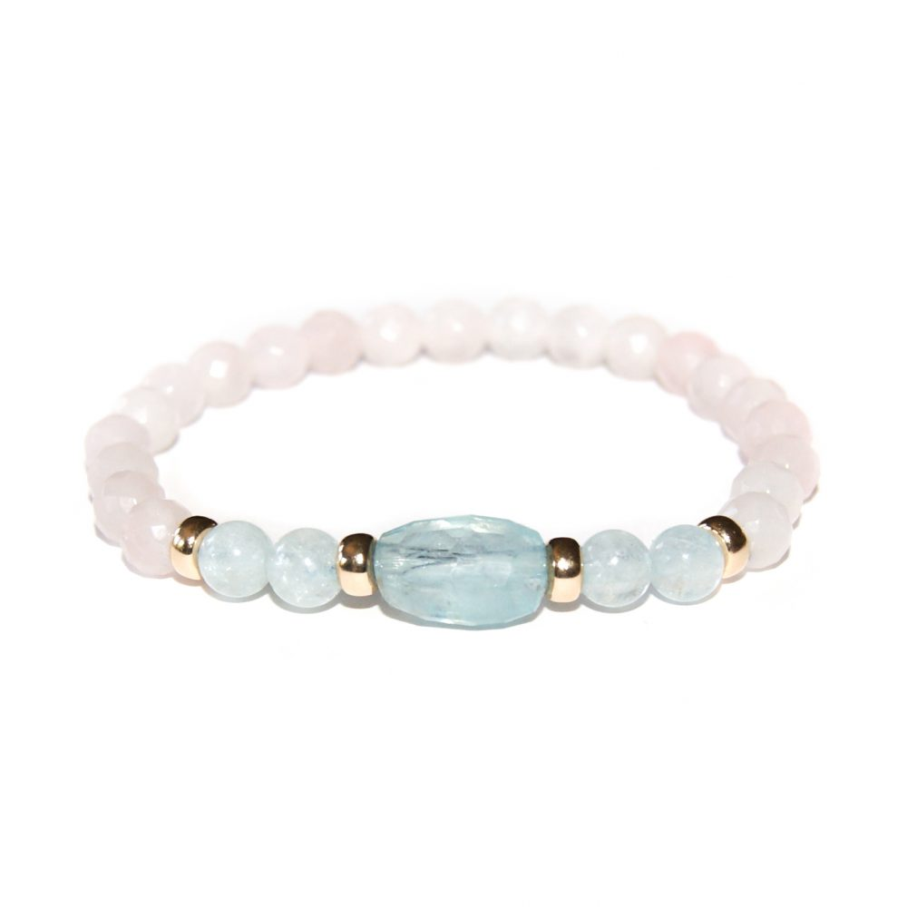 Aquamarine, Rose Quartz and 9ct Gold Bracelet, Aquamarine bracelet, rose quartz bracelet, rose quartz beaded bracelet, aquamarine beaded bracelet, aquamarine and gold bracelet, aquamarine jewellery, rose quartz jewellery, pink bracelet, blue bracelet, heart chakra bracelet