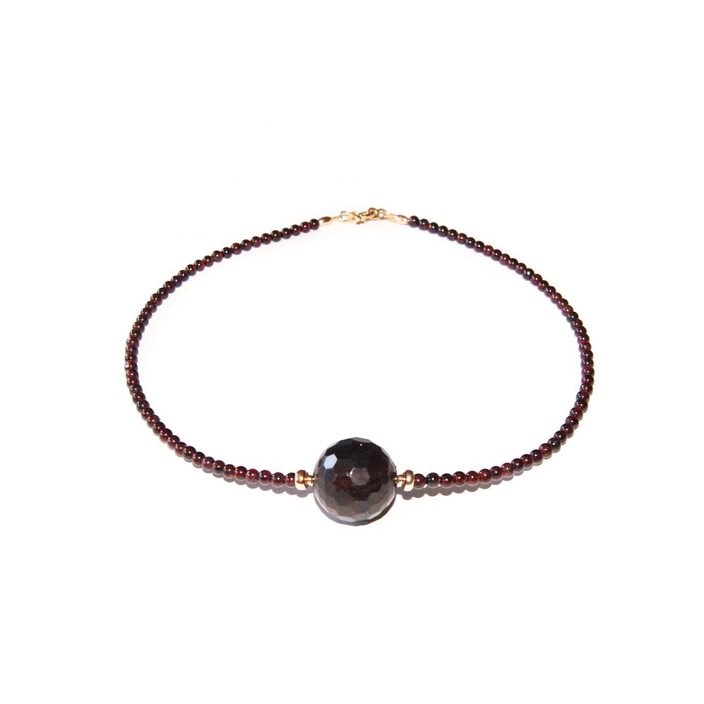 Natural Garnet 18ct solid Gold OMMO Necklace | UK |