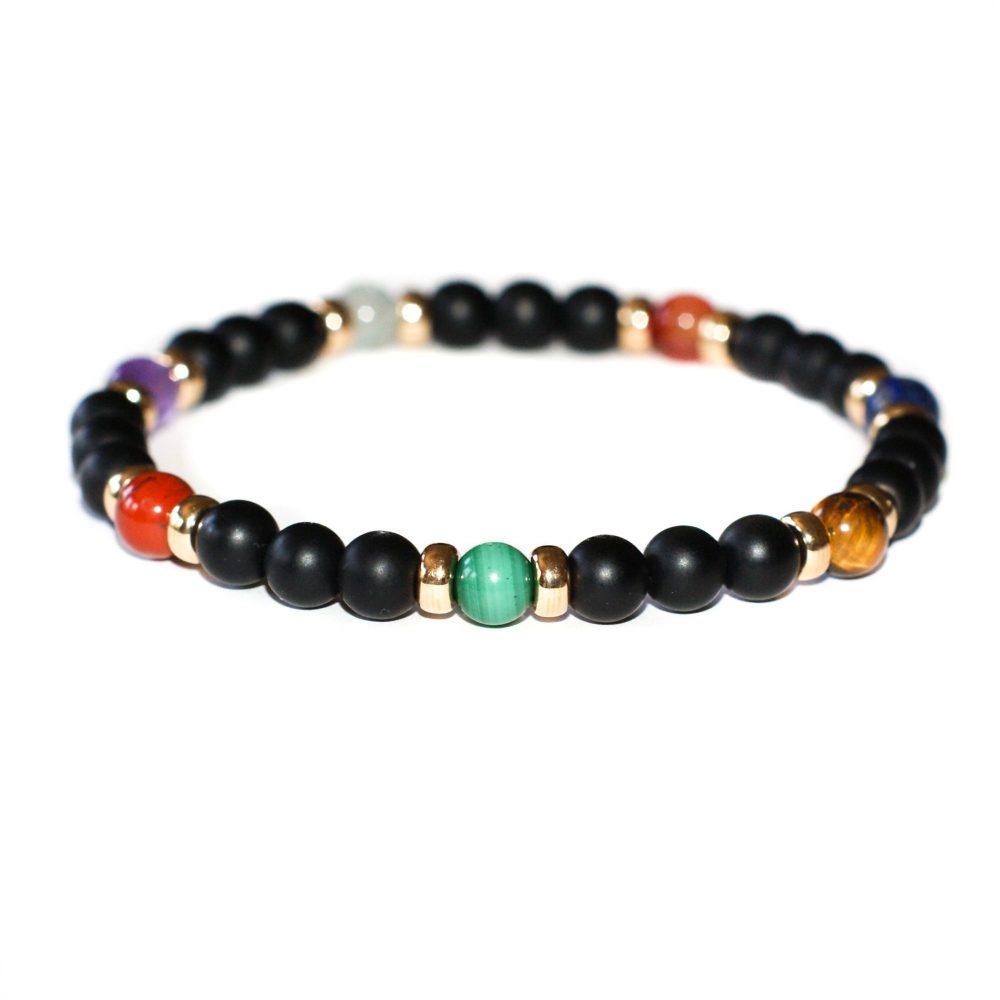 Luxury Chakra Bracelet with 9ct Gold, chakra bracelet, healing bracelet, balancing bracelet, onyx bracelet, chakra jewellery, chakra bracelet uk, chakra jewellery uk, chakras