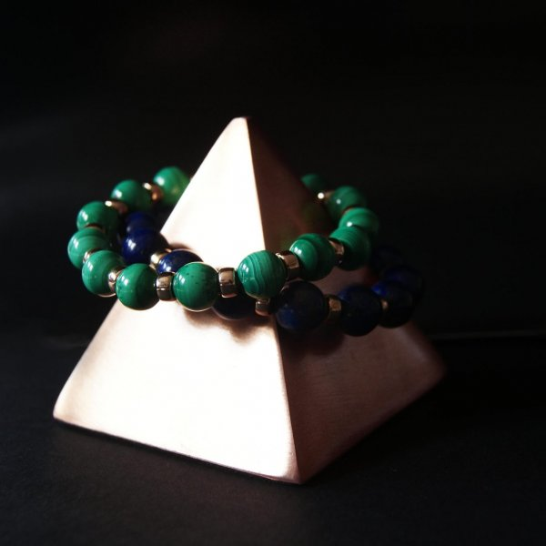 Malachite and Gold bracelet, pyramid, jewellery ,bracelets, necklaces, rings,