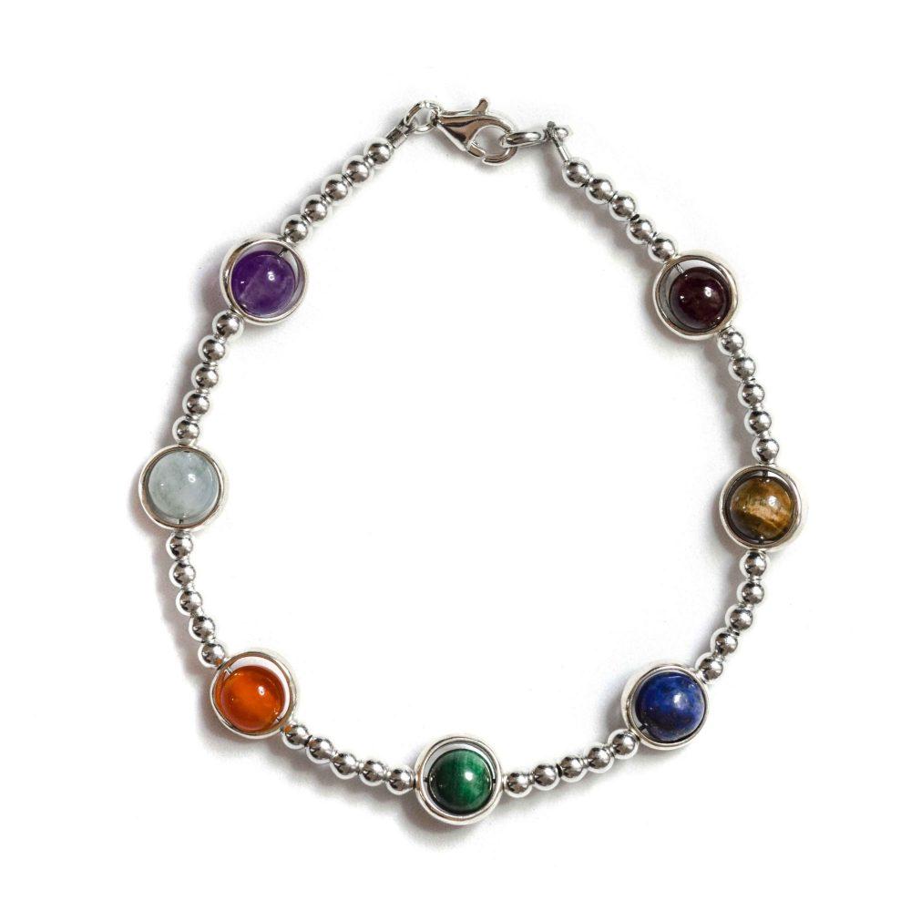 chakra bracelet, silver bracelet, beaded bracelet, chakra bracelet with silver, womens chakra bracelet, luxury chakra bracelet, malachite, lapis lazuli, tigers eye, carnelian, ,aquamarine, amethyst, garnet