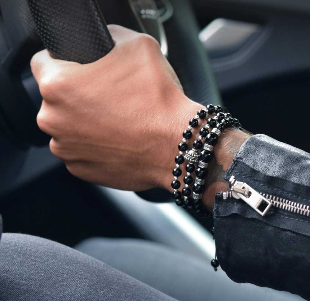 Black Onyx and Silver Bracelet Stack, black bracelet, onyx bracelet, onyx bracelets on wrist, car, mens fashion, mens style, mens gadgets, boys and their toys, gemstone bracelets, stone bracelets, mens bracelets uk