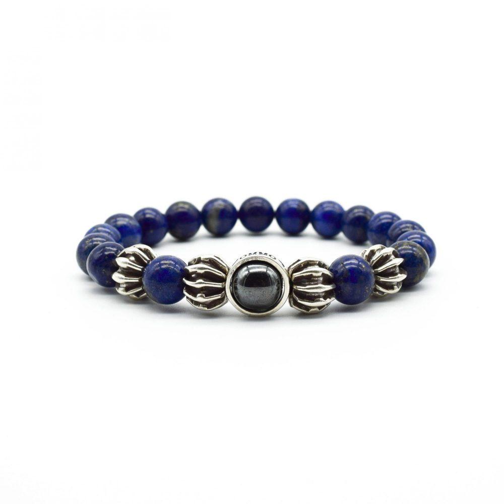 OMMO London Lapis Lazuli and Silver bracelet, blue bracelet, lapis bracelet, beaded bracelet, mens beaded bracelet, 999 silver bracelet, bali bracelet, chunky bracelet, gemstone bracelet, healing bracelet, spiritual bracelet