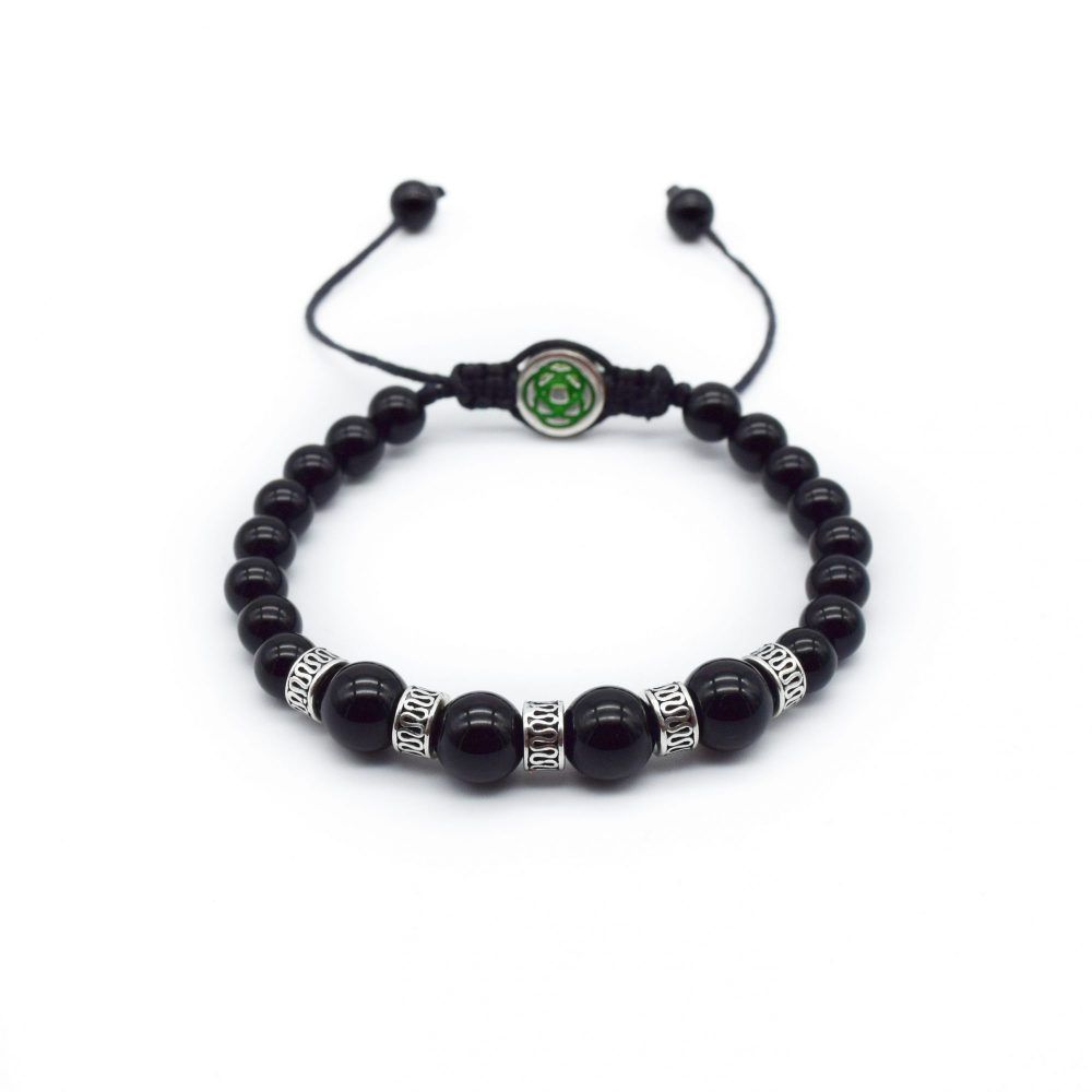 Black Onyx and Silver Adjustable Bracelet, beaded bracelet, onyx bracelet, macrame bracelet, designer bracelet, healing bracelet, strength bracelet, present for him, bracelet as a resent, gift idea, black bracelet, mens beaded bracelet, designer bracelet uk, womens beaded bracelet, womens bracelet, onyx bracelet for women
