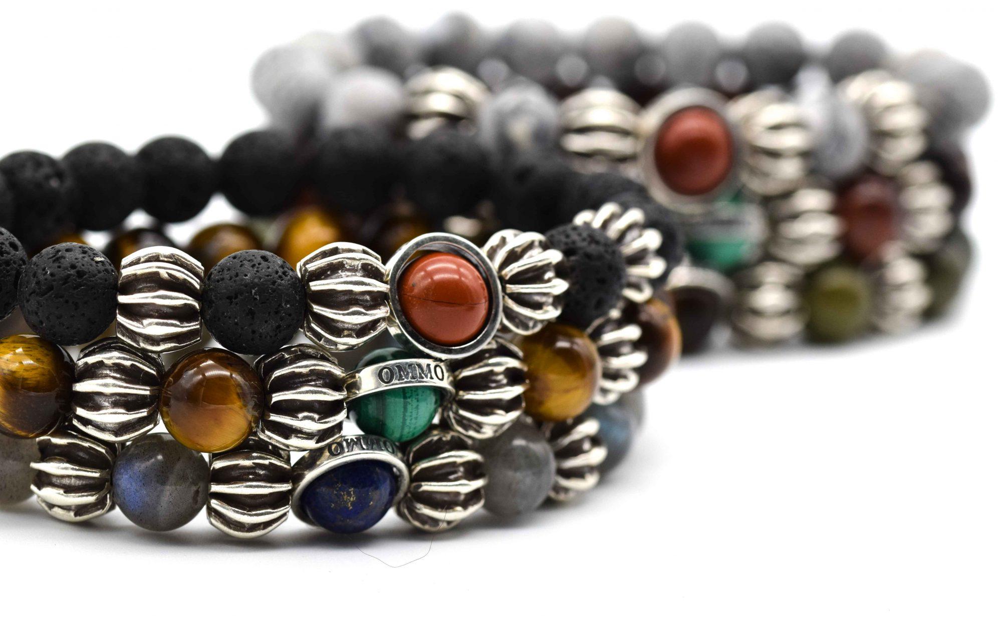 OMMO London bracelet, lava bracelet, red jasper bracelet, malachite bracelet, tiger's eye bracelet, lapis lazuli bracelet, onyx bracelet, labradorite bracelet, jasper bracelet