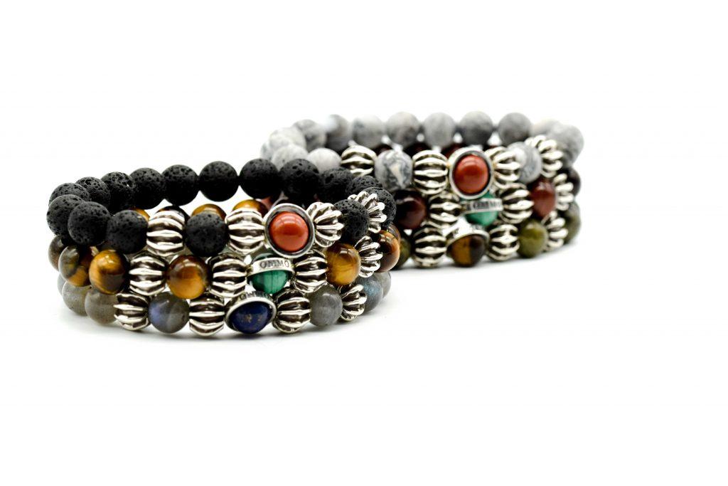 OMMO London bracelet, lava bracelet, red jasper bracelet, malachite bracelet, tiger