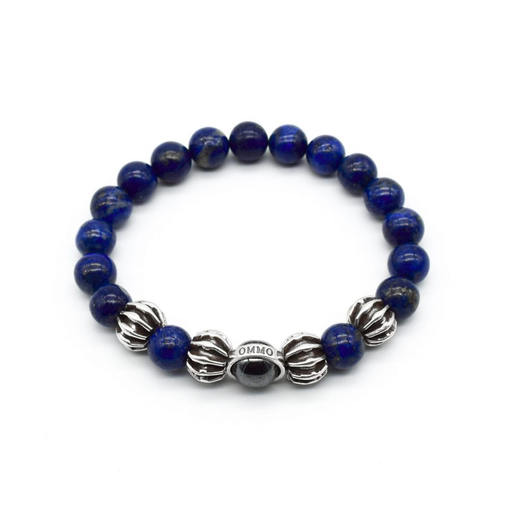 lapis lazuli bracelet, lapis and silver bracelet, designer bracelet for men, beaded bracelet, blue bracelet, navy bracele