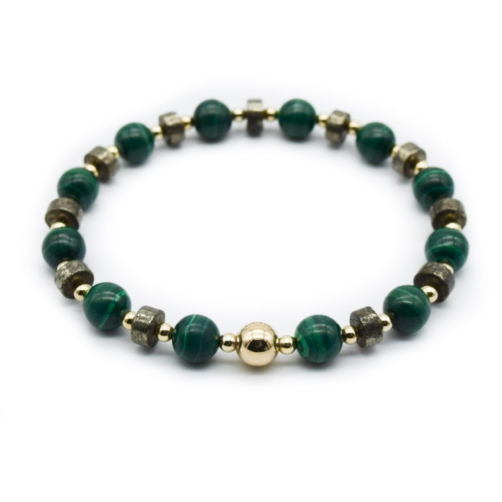 malachite and gold brcelet, 9ct gold bracelet, stretch bracelet, green bracelet, pyrite bracelet, designer bracelet, luxury beaded bracelet, present for him, xmas gift idea