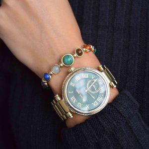 Malachite and Gold chakra bracelet, gift for men, men's bracelet, men's jewellery, designer bracelet, OMMO London | UK, luxury chakra bracelet, gold bracelet for women, present for her, healing crystal bracelet, unique bracelet