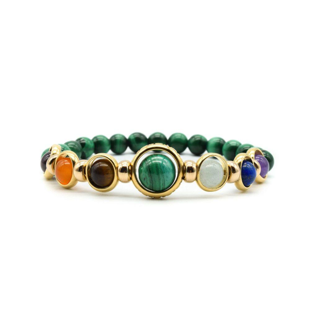 Men luxury chakra bracelet, healing bracelet, OMMO London, UK, malachite bracelet, malachite and gold, ommo chakra bracelet, luxury chakra bracelet, gold chakra bracelet, designer beaded bracelet, designer chakra bracelet