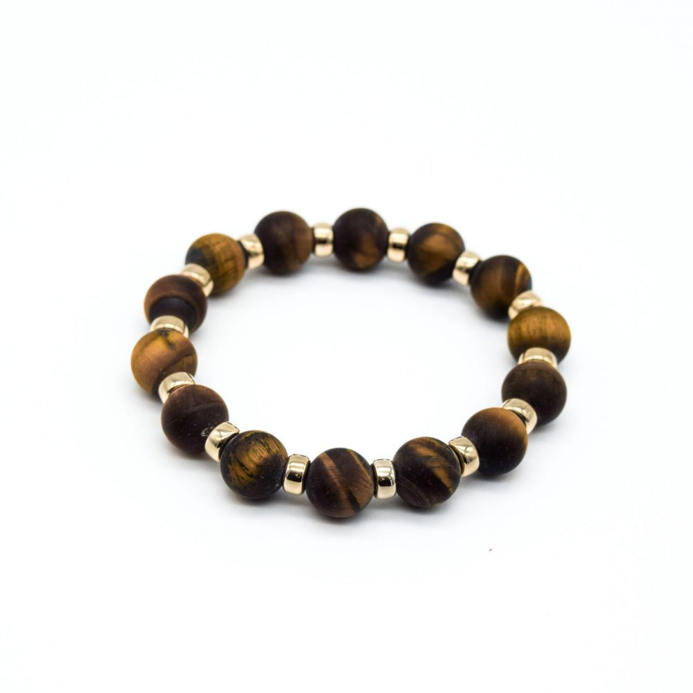 Luxury Matte Tiger's Eye and Gold beaded Bracelet, Matte Tiger's Eye and gold jewellery, Matte Tiger's Eye bracelet, Matte Tiger's Eye beaded bracelet, Matte Tiger's Eye jewellery, designer bracelet, mens bracelet uk, premium Matte Tiger's Eye bracelet, Matte Tiger's Eye and 9ct gold bracelet