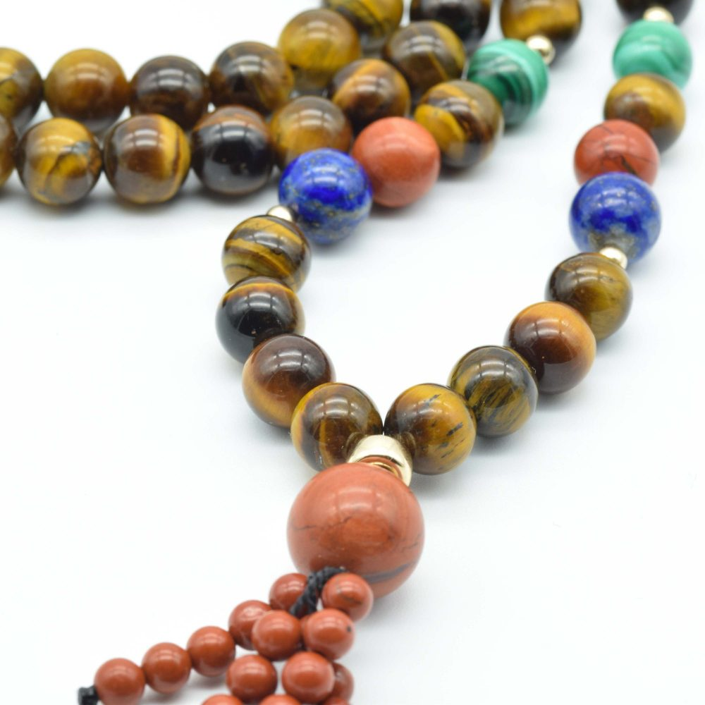 Tiger Eye mala necklace with 9ct gold beads, mala necklace, tigers eye mala necklace, pray necklace, spiritual necklace, tigers eye necklace, beaded necklace